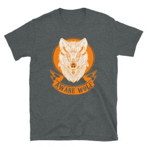"""Aware Wolf"" Short-Sleeve Unisex T-Shirt"