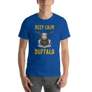 """Keep Calm"" Meditating Buffalo Hockey Short-Sleeve Unisex T-Shirt"