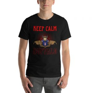 """Keep Calm"" Meditating Buffalo Football Short-Sleeve Unisex T-Shirt"